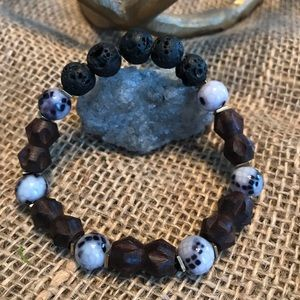 Other - Lava rocks with wood and glass beads bracelet.